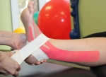 Combination of kinesiotaping and sports taping